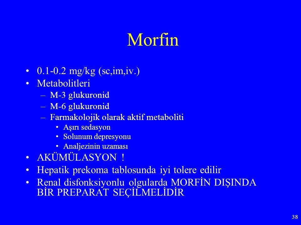 Morfin 0.1-0.2 mg/kg (sc,im,iv.) Metabolitleri AKÜMÜLASYON !