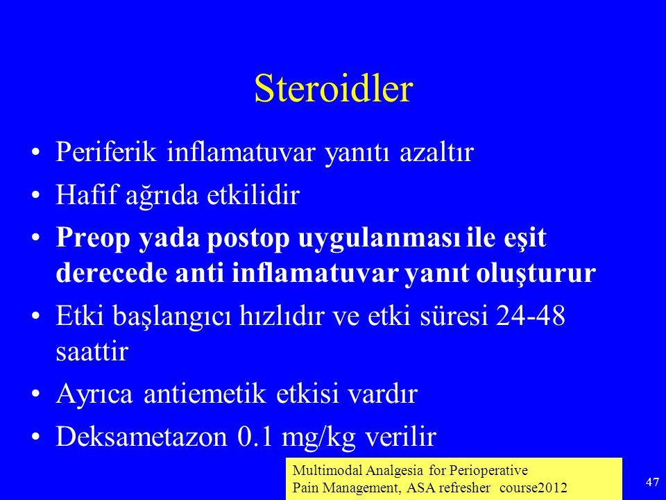 Steroidler Periferik inflamatuvar yanıtı azaltır