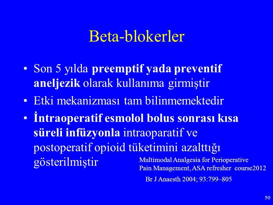 Beta-blokerler Son 5 yılda preemptif yada preventif aneljezik olarak kullanıma girmiştir. Etki mekanizması tam bilinmemektedir.