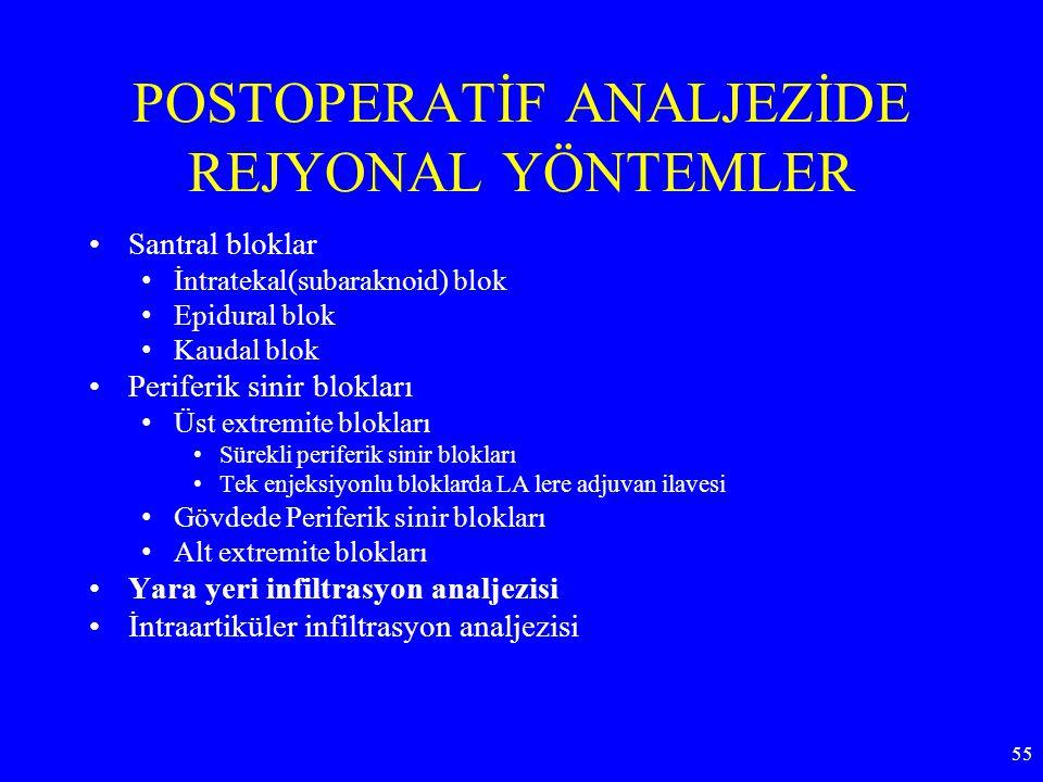POSTOPERATİF ANALJEZİDE REJYONAL YÖNTEMLER