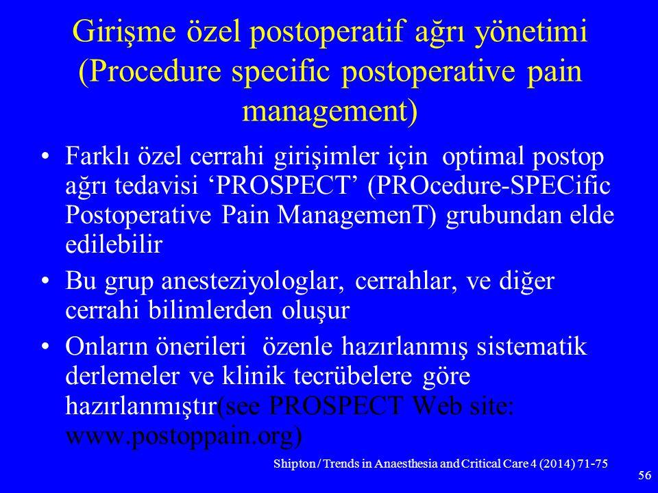 Girişme özel postoperatif ağrı yönetimi (Procedure specific postoperative pain management)