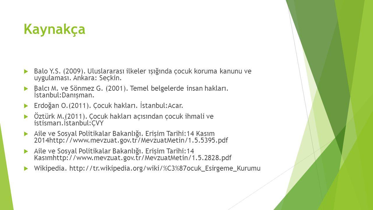 Kaynakça Balo Y.S. (2009). Uluslararası ilkeler ışığında çocuk koruma kanunu ve uygulaması. Ankara: Seçkin.