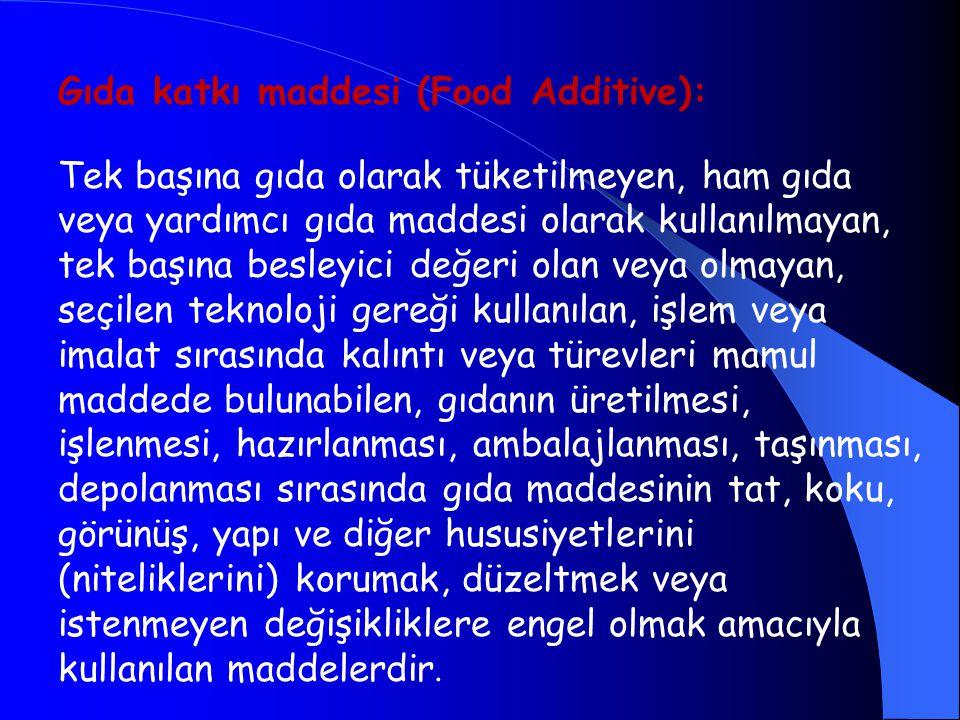 Gıda katkı maddesi (Food Additive):