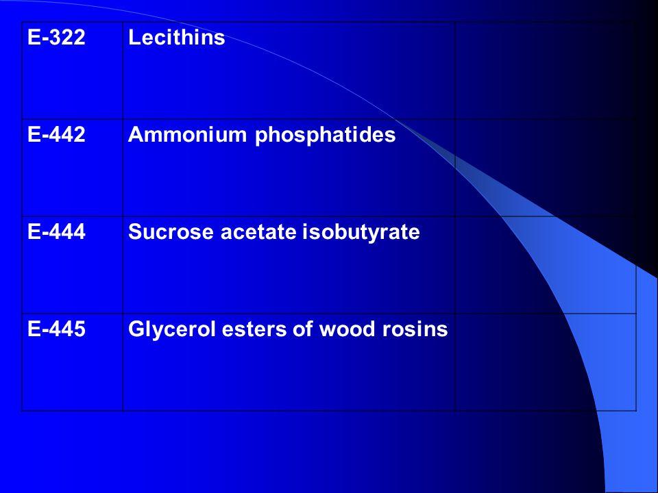 E-322 Lecithins. E-442. Ammonium phosphatides.