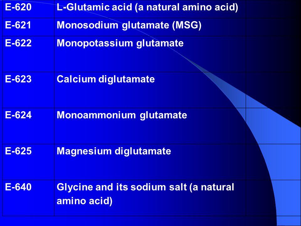 E-620 L-Glutamic acid (a natural amino acid) E-621. Monosodium glutamate (MSG) E-622. Monopotassium glutamate.