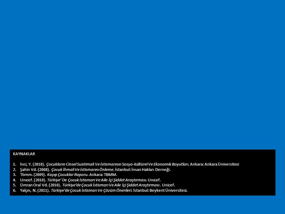 KAYNAKLAR İnci, Y. (2010). Çocukların Cinsel Suistimali Ve İstismarının Sosyo-kültürel Ve Ekonomik Boyutları. Ankara: Ankara Üniversitesi.