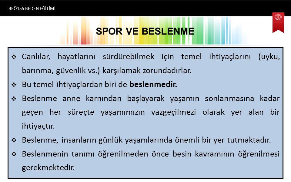 BEÖ155 BEDEN EĞİTİMİ SPOR VE BESLENME.