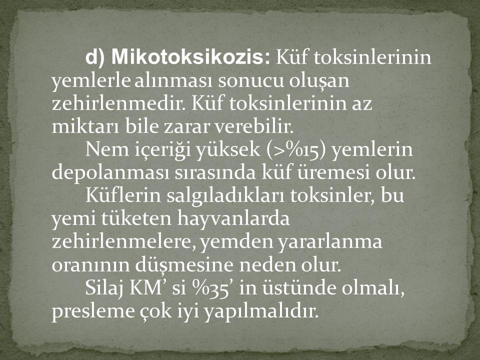 d) Mikotoksikozis: Küf toksinlerinin yemlerle alınması sonucu oluşan zehirlenmedir.