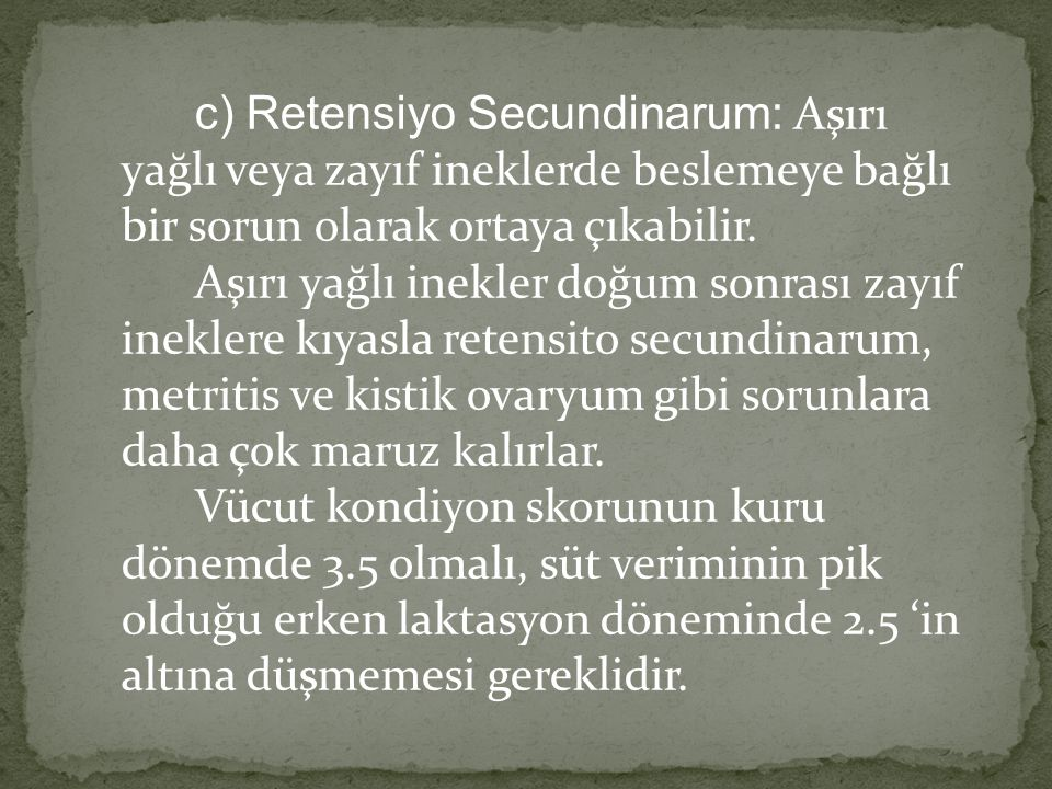 c) Retensiyo Secundinarum: Aşırı yağlı veya zayıf ineklerde beslemeye bağlı bir sorun olarak ortaya çıkabilir.