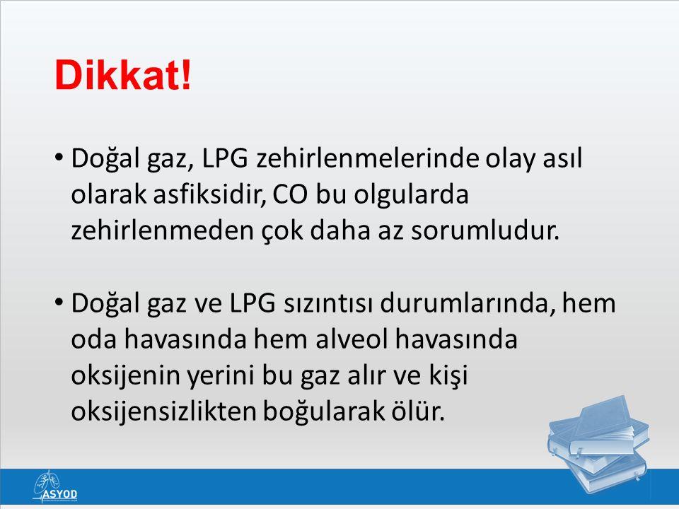 Dikkat! Doğal gaz, LPG zehirlenmelerinde olay asıl olarak asfiksidir, CO bu olgularda zehirlenmeden çok daha az sorumludur.