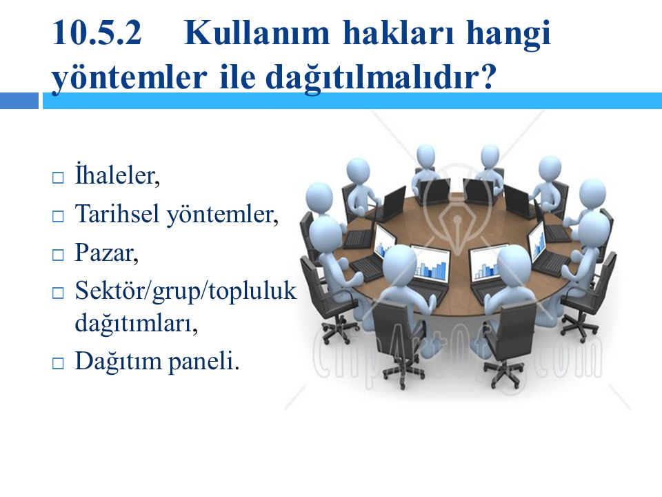 10.5.2 Kullanım hakları hangi yöntemler ile dağıtılmalıdır