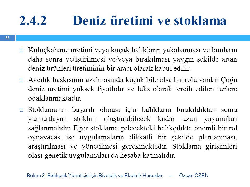 2.4.2 Deniz üretimi ve stoklama