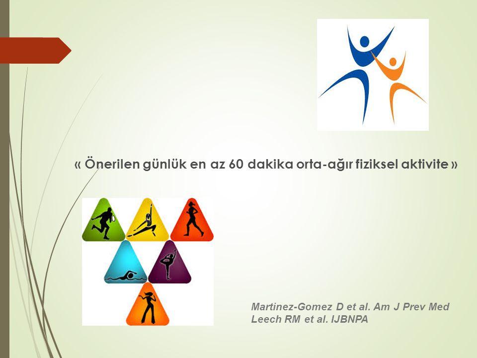 « Önerilen günlük en az 60 dakika orta-ağır fiziksel aktivite »