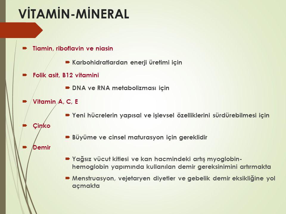 VİTAMİN-MİNERAL Tiamin, riboflavin ve niasin