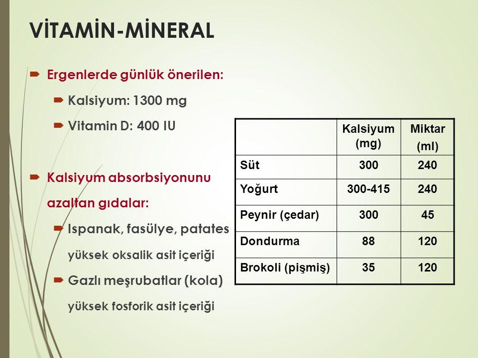 VİTAMİN-MİNERAL Ergenlerde günlük önerilen: Kalsiyum: 1300 mg