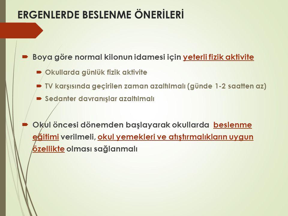 ERGENLERDE BESLENME ÖNERİLERİ