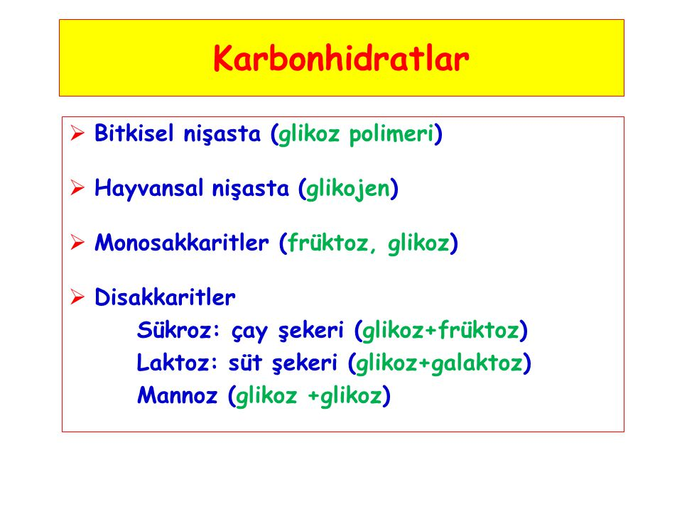 Karbonhidratlar Bitkisel nişasta (glikoz polimeri)