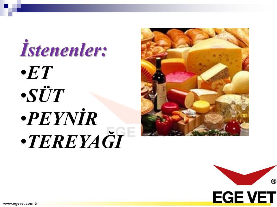 İstenenler: ET SÜT PEYNİR TEREYAĞI www.egevet.com.tr