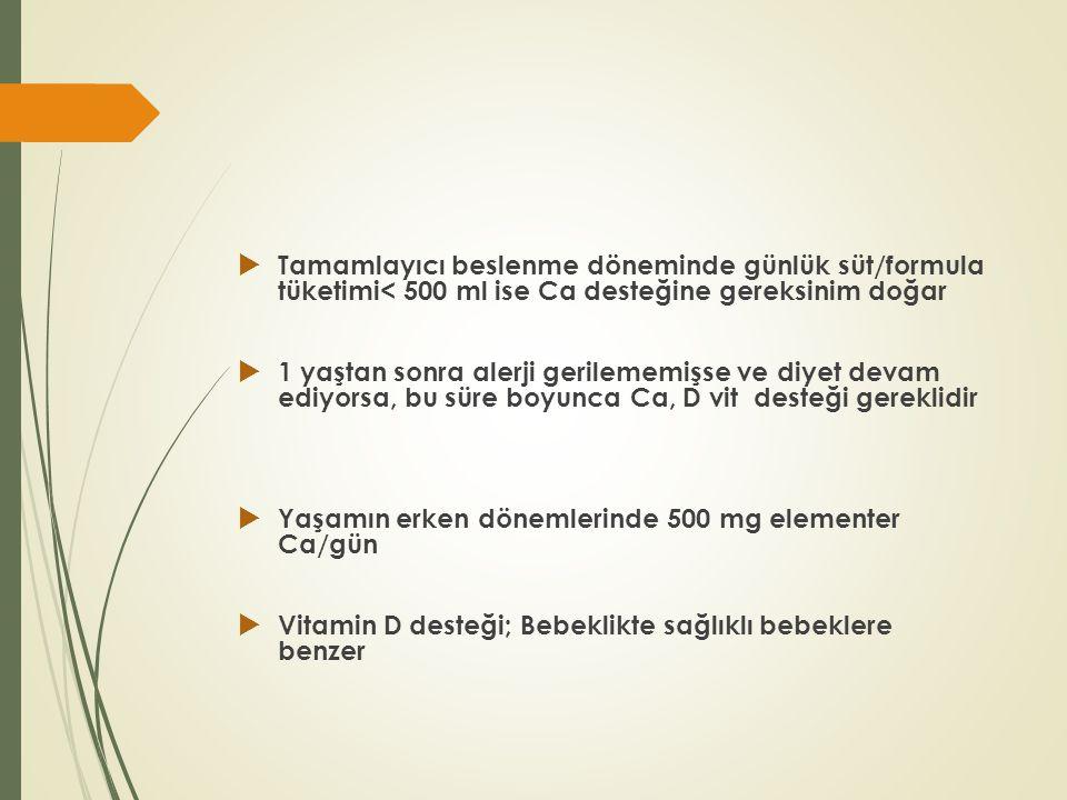 Tamamlayıcı beslenme döneminde günlük süt/formula tüketimi< 500 ml ise Ca desteğine gereksinim doğar