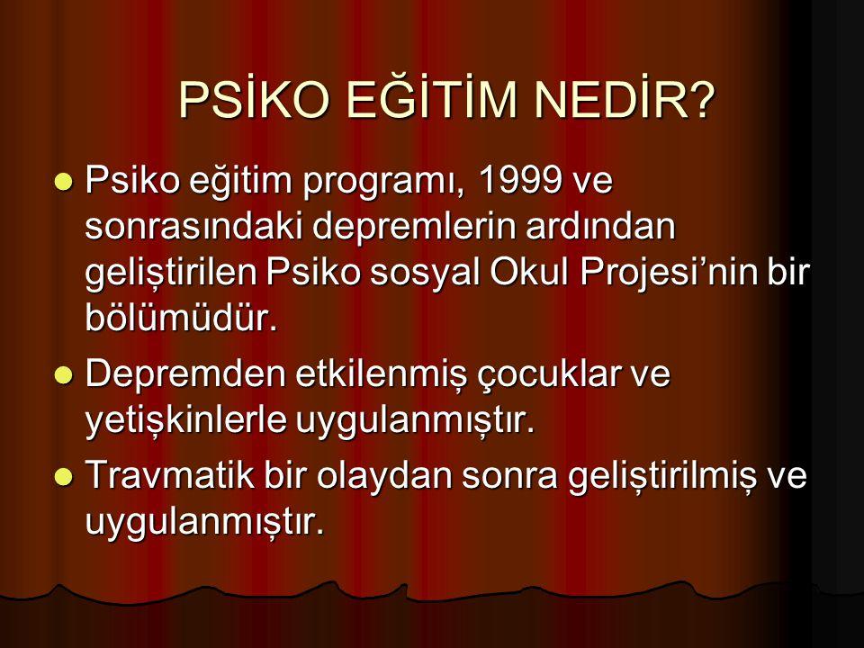 PSİKO EĞİTİM NEDİR Psiko eğitim programı, 1999 ve sonrasındaki depremlerin ardından geliştirilen Psiko sosyal Okul Projesi'nin bir bölümüdür.