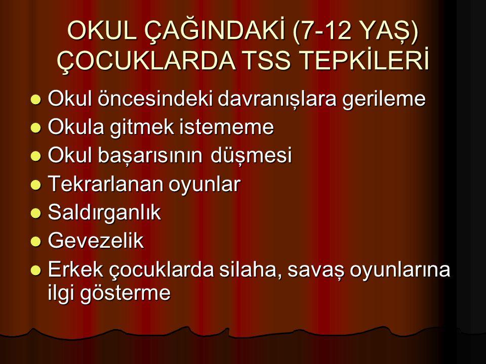 OKUL ÇAĞINDAKİ (7-12 YAŞ) ÇOCUKLARDA TSS TEPKİLERİ