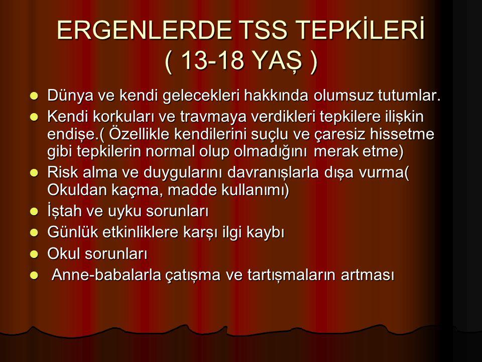 ERGENLERDE TSS TEPKİLERİ ( 13-18 YAŞ )