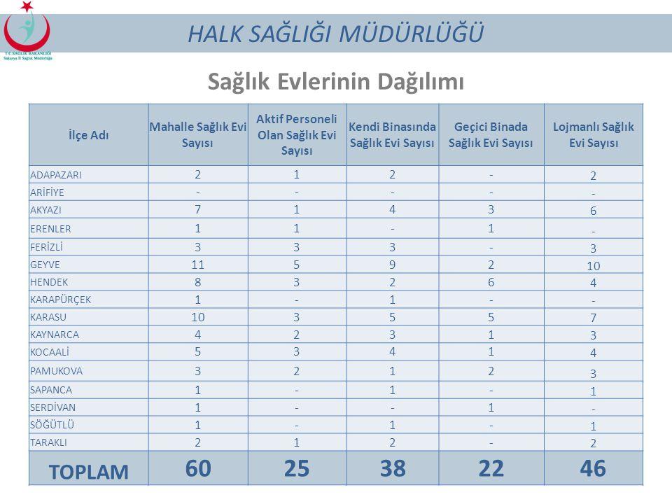 Sağlık Evlerinin Dağılımı 60 25 38 22 46