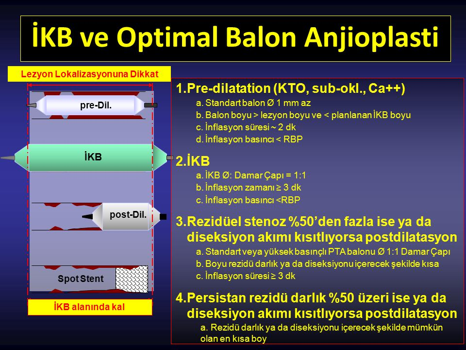 İKB ve Optimal Balon Anjioplasti Lezyon Lokalizasyonuna Dikkat