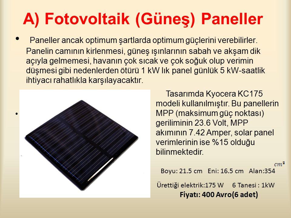 A) Fotovoltaik (Güneş) Paneller