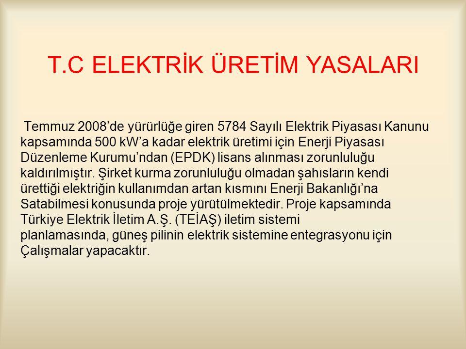 T.C ELEKTRİK ÜRETİM YASALARI