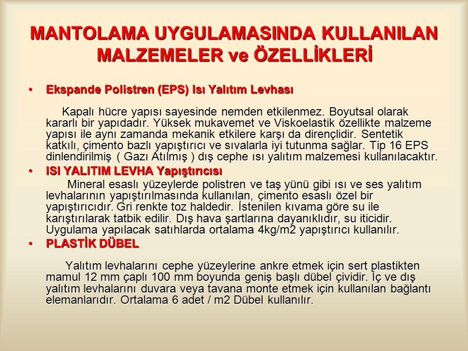 MANTOLAMA UYGULAMASINDA KULLANILAN MALZEMELER ve ÖZELLİKLERİ