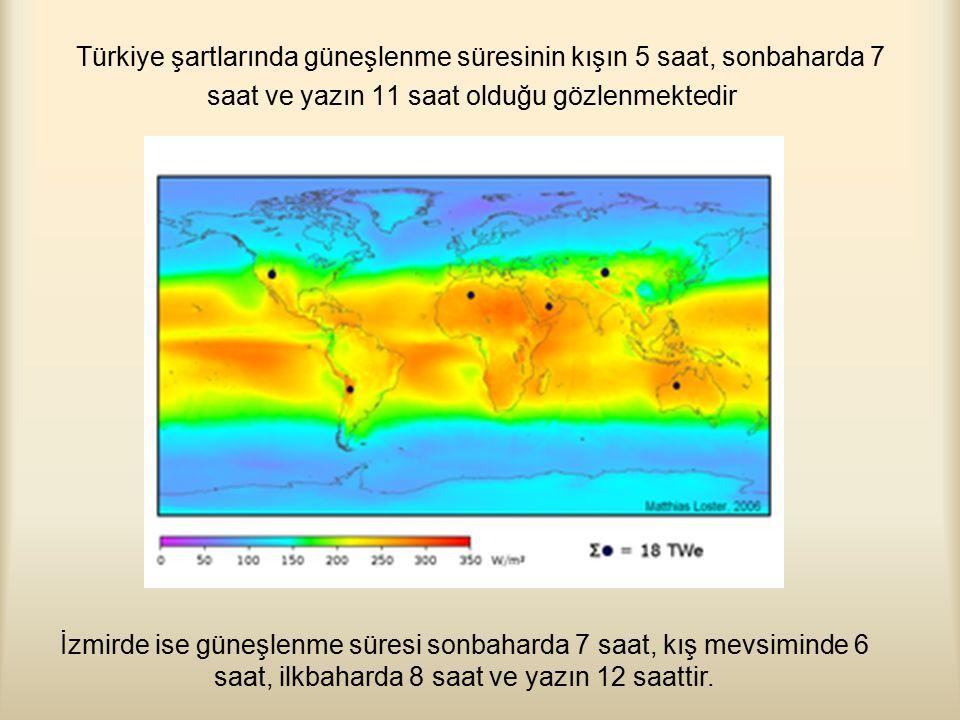 Türkiye şartlarında güneşlenme süresinin kışın 5 saat, sonbaharda 7 saat ve yazın 11 saat olduğu gözlenmektedir