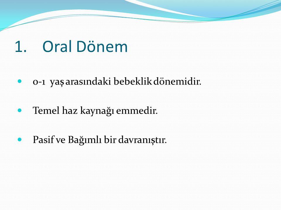 1. Oral Dönem 0-1 yaş arasındaki bebeklik dönemidir.