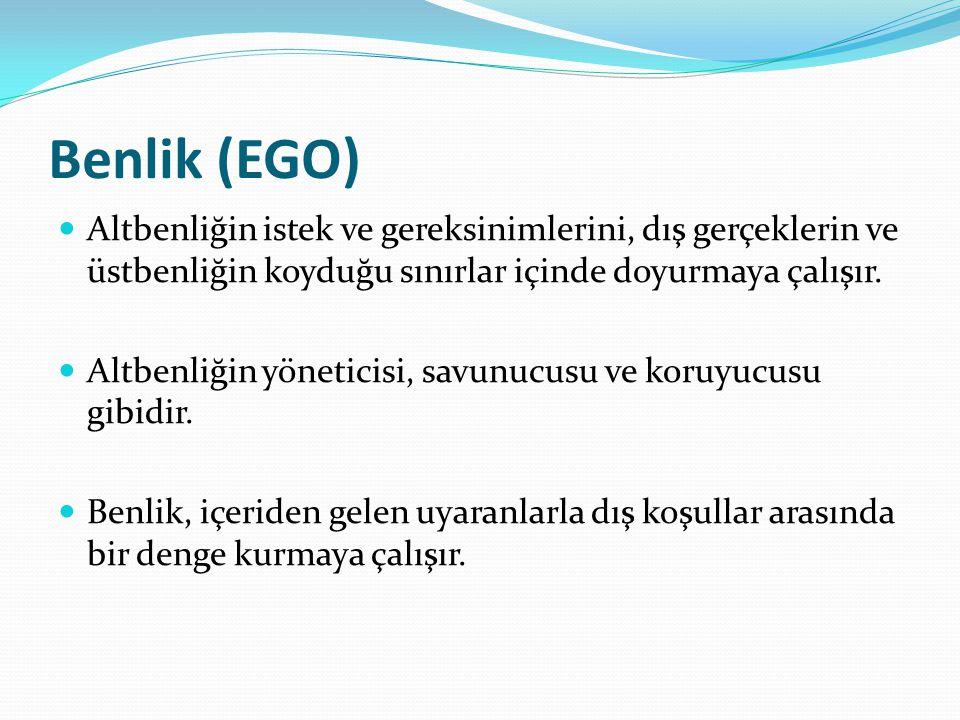 Benlik (EGO) Altbenliğin istek ve gereksinimlerini, dış gerçeklerin ve üstbenliğin koyduğu sınırlar içinde doyurmaya çalışır.