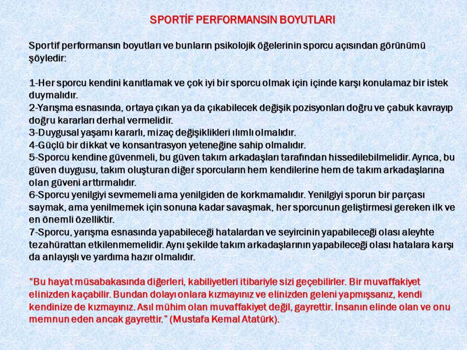 SPORTİF PERFORMANSIN BOYUTLARI
