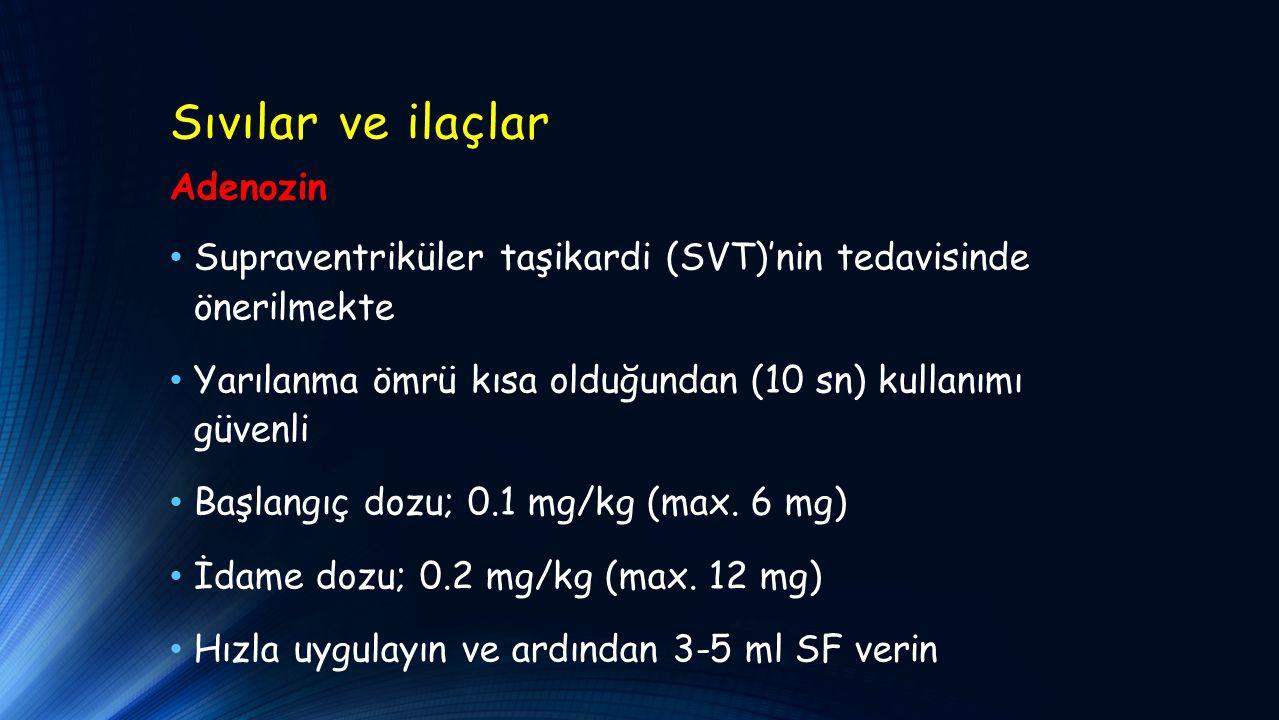 Sıvılar ve ilaçlar Adenozin