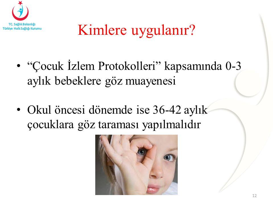 Kimlere uygulanır Çocuk İzlem Protokolleri kapsamında 0-3 aylık bebeklere göz muayenesi.