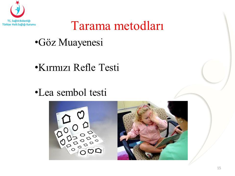 Tarama metodları Göz Muayenesi Kırmızı Refle Testi Lea sembol testi