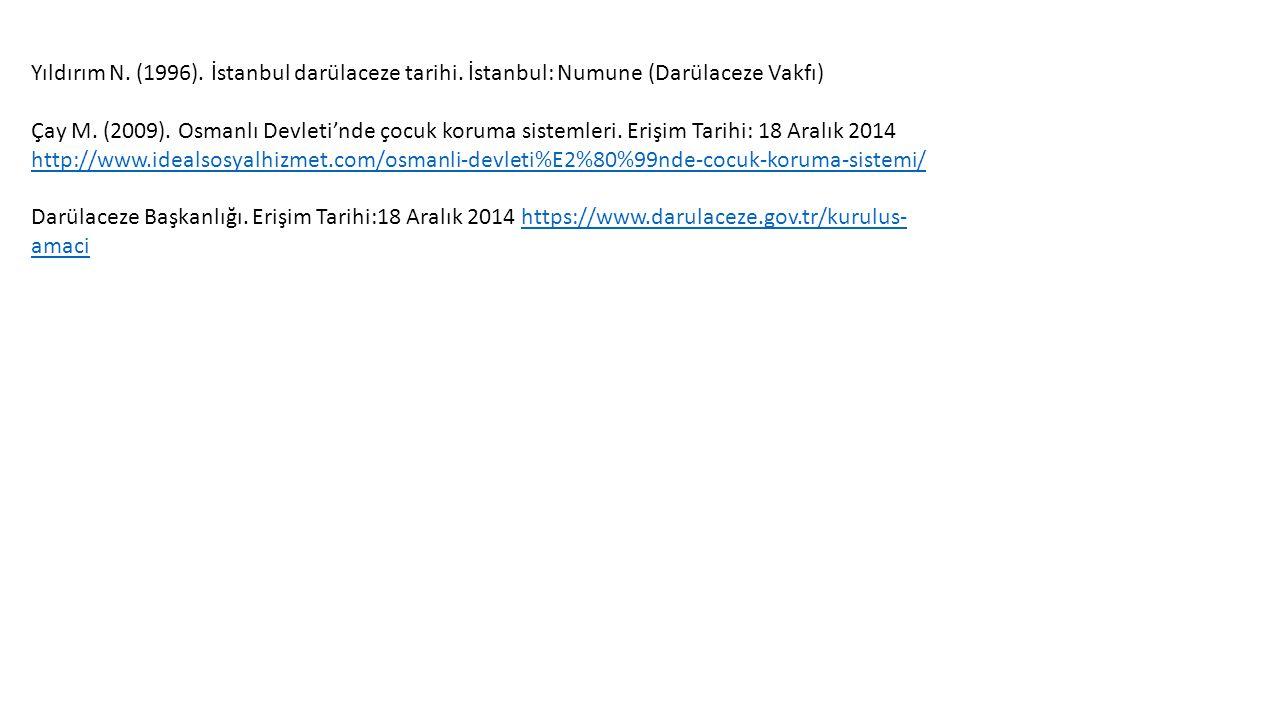 Yıldırım N. (1996). İstanbul darülaceze tarihi