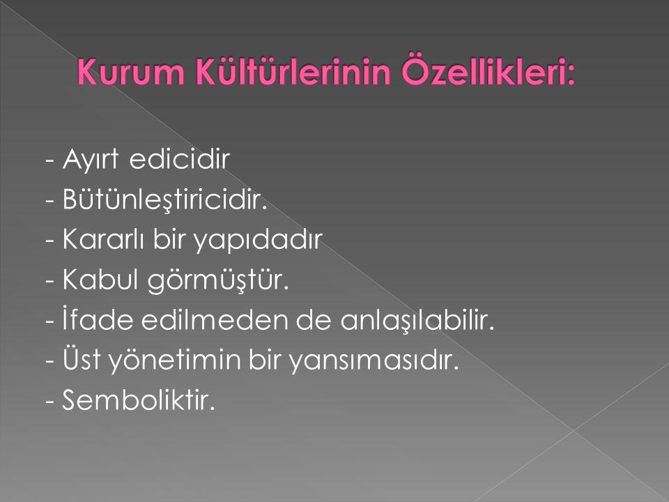 Kurum Kültürlerinin Özellikleri: