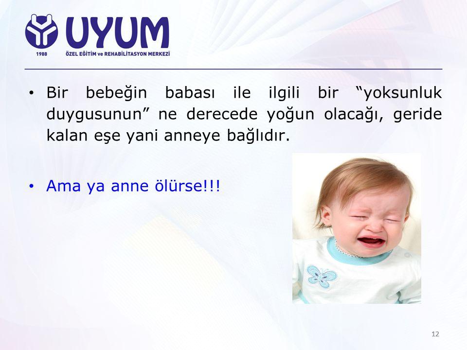Bir bebeğin babası ile ilgili bir yoksunluk duygusunun ne derecede yoğun olacağı, geride kalan eşe yani anneye bağlıdır.