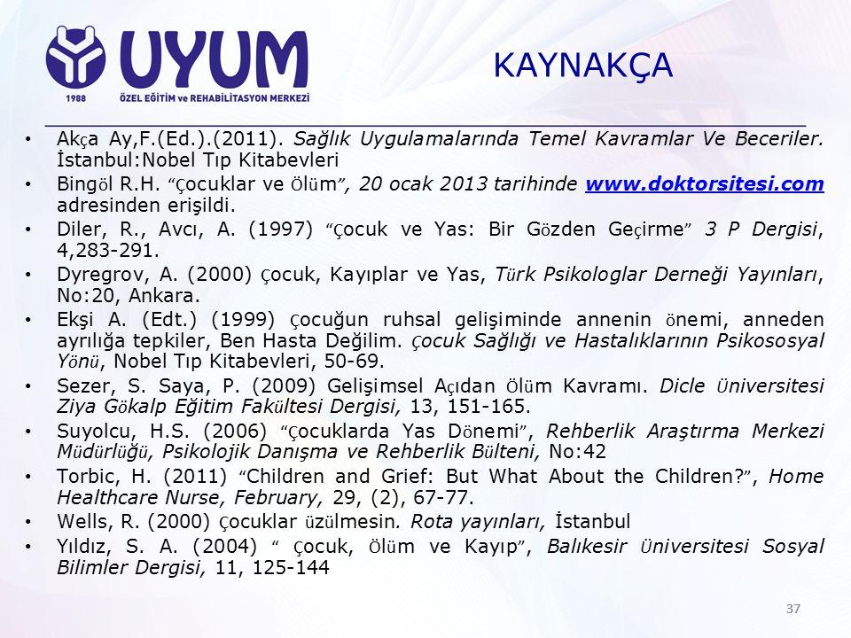 KAYNAKÇA Akça Ay,F.(Ed.).(2011). Sağlık Uygulamalarında Temel Kavramlar Ve Beceriler. İstanbul:Nobel Tıp Kitabevleri.