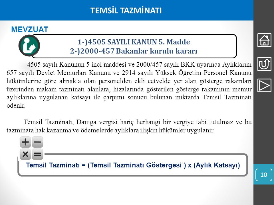 TEMSİL TAZMİNATI MEVZUAT 1-)4505 SAYILI KANUN 5. Madde