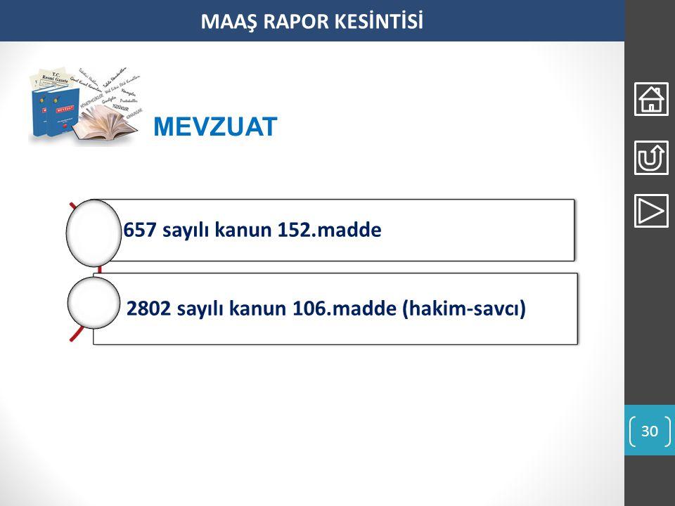 MEVZUAT MAAŞ RAPOR KESİNTİSİ 2802 sayılı kanun 106.madde (hakim-savcı)