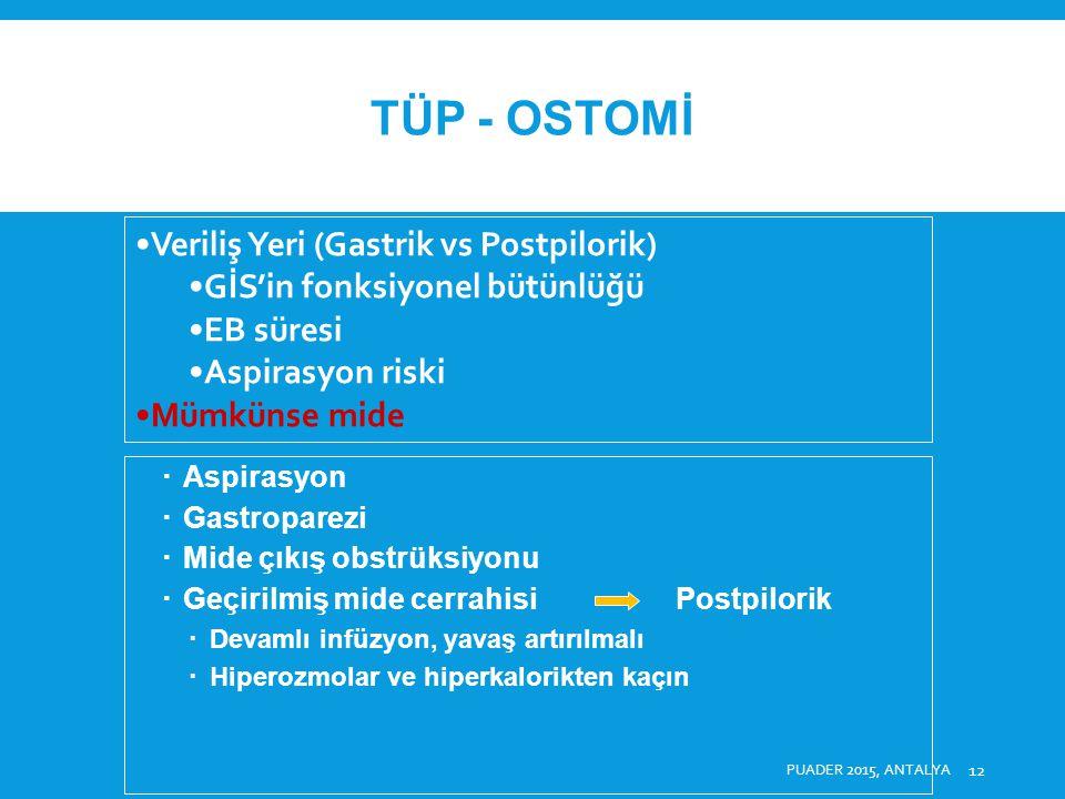TÜP - OSTOMİ Veriliş Yeri (Gastrik vs Postpilorik)
