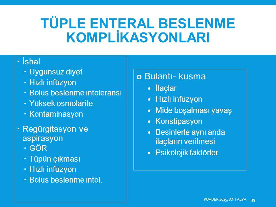 TÜPLE ENTERAL BESLENME KOMPLİKASYONLARI