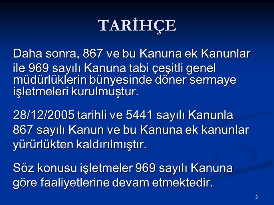 TARİHÇE Daha sonra, 867 ve bu Kanuna ek Kanunlar.
