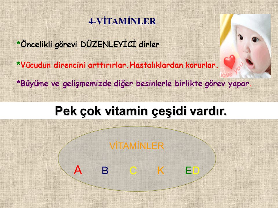 Pek çok vitamin çeşidi vardır.