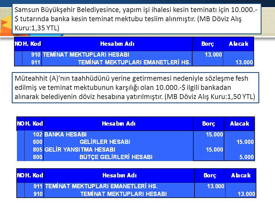 Samsun Büyükşehir Belediyesince, yapım işi ihalesi kesin teminatı için 10.000.-$ tutarında banka kesin teminat mektubu teslim alınmıştır. (MB Döviz Alış Kuru:1,35 YTL)