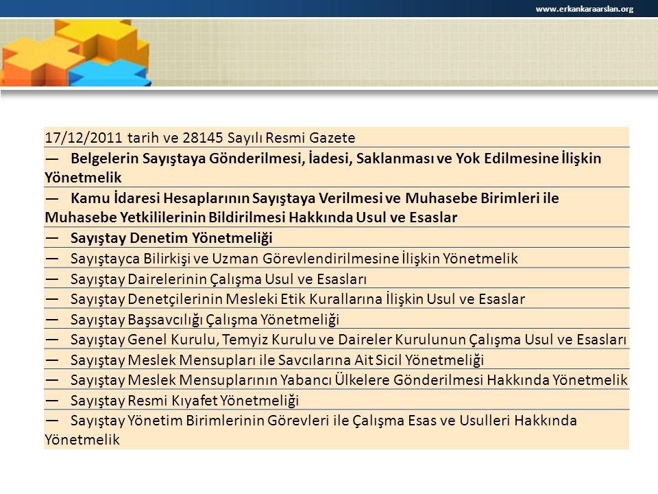 17/12/2011 tarih ve 28145 Sayılı Resmi Gazete